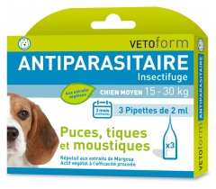 Vetoform Antiparasitaire Insectifuge Chien Moyen 3 Pipettes