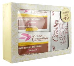 Rogé Cavaillès Extra-Gentle Rose Milk Soap Set of 2 x 250 g + Soap Box Offered