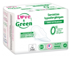 Love & Green Serviettes Hypoallergéniques Super 12 Serviettes
