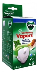 Vicks Comforting Vapors Electric Diffuser of Essential Oils + 5 Fragranced Refills