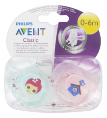 Avent Classic 2 Sucettes Orthodontiques 0-6 Mois