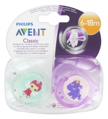 Avent Classic 2 Sucettes Orthodontiques 6-18 Mois