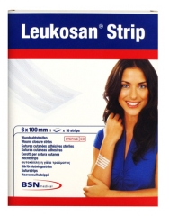 BSN medical Leukosan Strip Sutures Cutanées Adhésives Stériles 10 Strips 6 x 100 mm