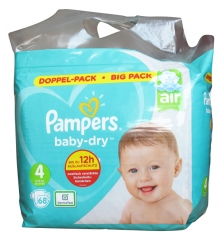 Pampers Baby-Dry 68 Couches-Culottes Taille 4 (9-14 kg)