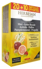 Herbesan Honey Royal Jelly Acerola Pollen Grapefruit Propolis 20 Phials + 10 Free