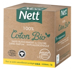 Nett 100% Coton Bio 16 Tampons Normal Avec Applicateur