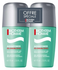 Biotherm Homme Aquapower Ice Cooling Effect Antitranspirante 48H Roll-On Lote de 2 x 75 ml