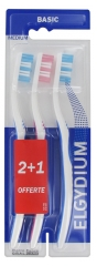 Elgydium Basic Brosse à Dents Médium Lot de 2 + 1 Offerte