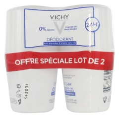 Vichy Déodorant 24H Toucher Sec Peau Sensible Roll-On Lot de 2 x 50 ml