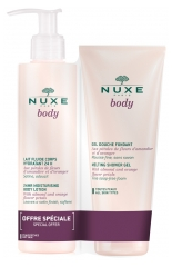 Nuxe Body Leche Fluida Cuerpo Hidratante 24H 400 ml + Body Gel de Ducha Fundente 200 ml