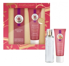 Roger & Gallet Gift Box 2020 Red Ginger Fragrant Well-Being Water 30ml + Energizing Shower Gel 50ml Free