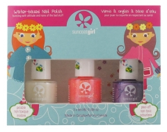 Suncoat Girl Kit 3 Nail Polishes Peel-Off Water-Based + 1 Stickers Sheet
