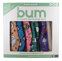 Bum Diapers Maxi Pack 6 Washable Animal Diapers + 12 Inserts From 0 to 3 Years old