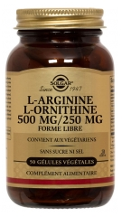 Solgar L-Arginine L-Ornithine 500mg/250mg 50 Vegetable Capsules