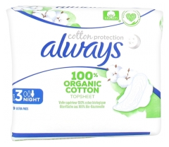Always Cotton Protection 9 Serviettes Hygiéniques Taille 3 Night