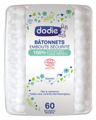 Dodie Buds Safety Tips 100% Organic Cotton Paper Stem 60 Buds
