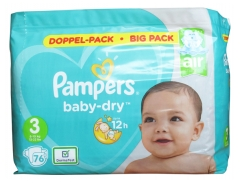 Pampers Baby-Dry 76 Couches Taille 3 (6-10 kg)