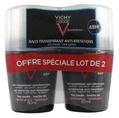 Vichy Homme Déodorant Anti-Transpirant Anti-Irritations 48H Roll-On Lot de 2 x 50 ml