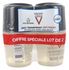 Vichy Homme Desodorante Antitranspirante 48H Antimarcas Roll-On Lote de 2 x 50 ml