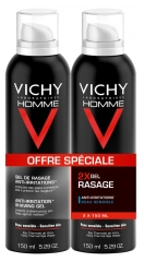 Vichy Homme Gel de Rasage Anti-Irritations Lot de 2 x 150 ml