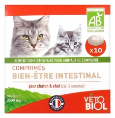 Vétobiol Tablets Intestinal Well-Being For Cat and Kitten 10 Tablets