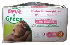 Love & Green Couches Hypoallergéniques 52 Couches Taille 3 (4-9 kg)