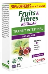 Ortis Fruits & Fibres Regular Tránsito intestinal Lote de 2 x 30 Comprimidos