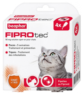 Beaphar Fiprotec 50 mg Solution Spot-on Chats 4 Pipettes de 0,50 ml