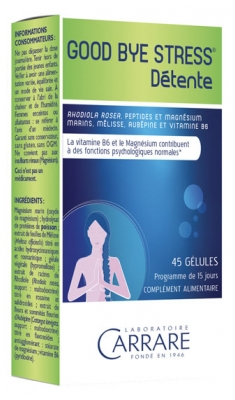 Laboratoire Carrare Good Bye Stress Détente 45 Gélules