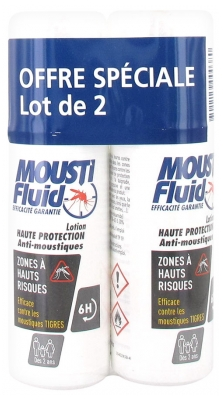 Moustifluid Lotion Haute Protection Zones à Hauts Risques Lot de 2 x 100 ml