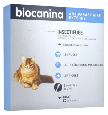 Biocanina Insect Repellent Spot-On Cat 2 Pipettes of 2ml