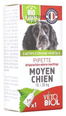 Vétobiol Pipette Medium Dog 10 to 30kg 1 Pipette