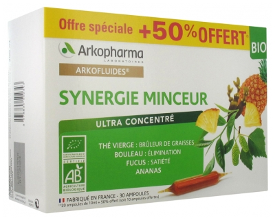 Arkopharma Arkofluides Organic Slimming Synergy 20 Phials + 10 Phials Offered