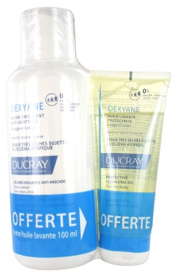 Ducray Dexyane Anti-Scratching Emollient Balm 400ml + Protective Cleansing Oil 100ml Free