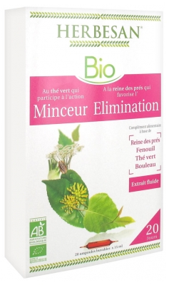 Herbesan Organic Elimination Slimness Meadowsweet Green Tea Complex 20 Phials of 15ml