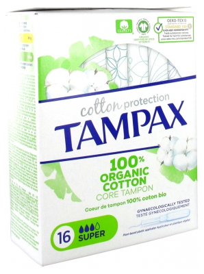 Tampax Cotton Protection Super 100% Algodón Orgánico 16 Tampones