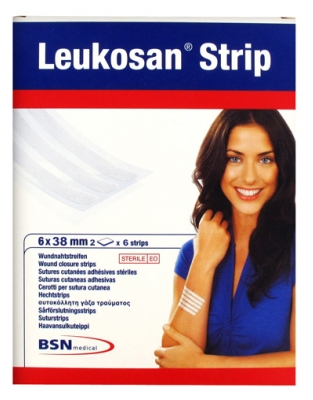 BSN medical Leukosan Strip Sutures Cutanées Adhésives Stériles 2 x 6 Strips