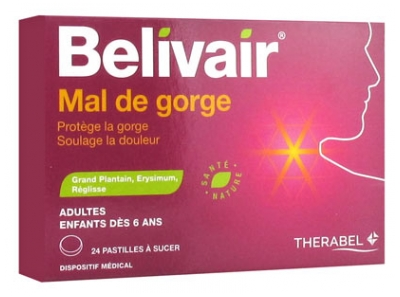 Belivair Sore Throat 24 Lozenges to Suck