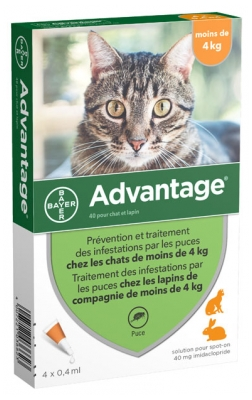 Bayer Advantage 40 Antifleas Solution for Cat and Rabbit Under 4kg 4 Pipettes