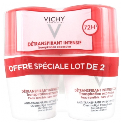 Vichy Détranspirant Intensif 72H Transpiration Excessive Lot de 2 x 50 ml