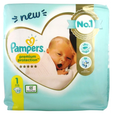 Pampers New Baby Premium Protection 22 Nappies Size 1 (2-5kg)