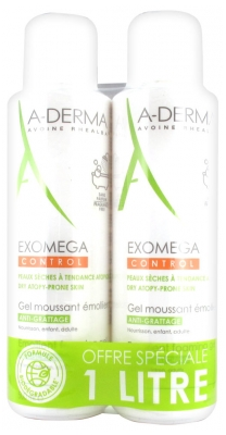 Aderma Exomega Control Emollient Foaming Gel Anti-Scratching 2 x 500ml