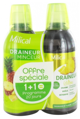 Milical Draining Ultra 2 x 500ml - Flavour: Pineapple
