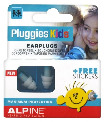 Alpine Hearing Protection Pluggies Kids Bouchons d'Oreille + Stickers Gratuits