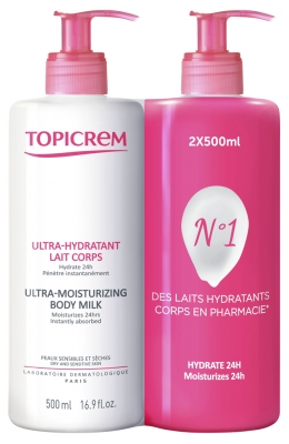 Topicrem Ultra-Hydratant Lait Corps Lot de 2 x 500 ml