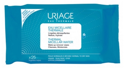 Uriage Thermal Micellar Water Normal to Dry Skin 25 Wipes