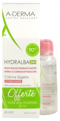 Aderma Hydralba 24H Light Moisturizing Cream 40 ml + Sensifluid Cleansing Micellar Water 25 ml Offered