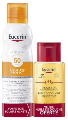 Eucerin Sun Protection Sensitive Protect Transparent Sun Mist SPF 50 200ml + PH5 Shower Oil 100ml Free