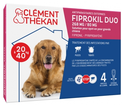Clément Thékan Fiprokil Duo 268mg/80mg Big Dogs 4 Pipettes
