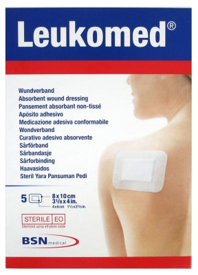BSN Medical Leukomed 5 Absorbierende Verbandstoffe aus Vliesstoff 8 x 10 cm